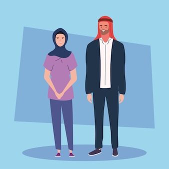 Paar trägt turban und hijab