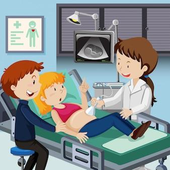 Paar treffen arzt für ultraschall