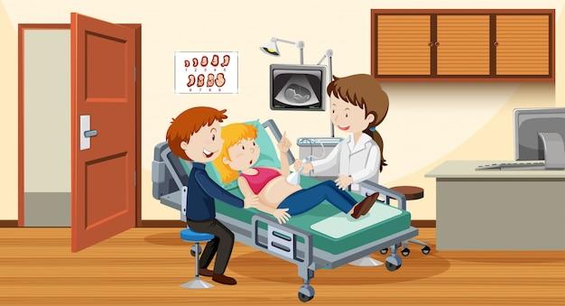 Paar ultraschall im krankenhaus