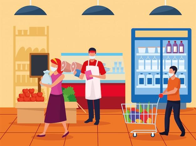 Paar und arbeiter, die gesichtsmasken im supermarkt verwenden