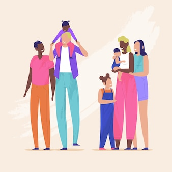 Paar und familie am stolz tag illustration