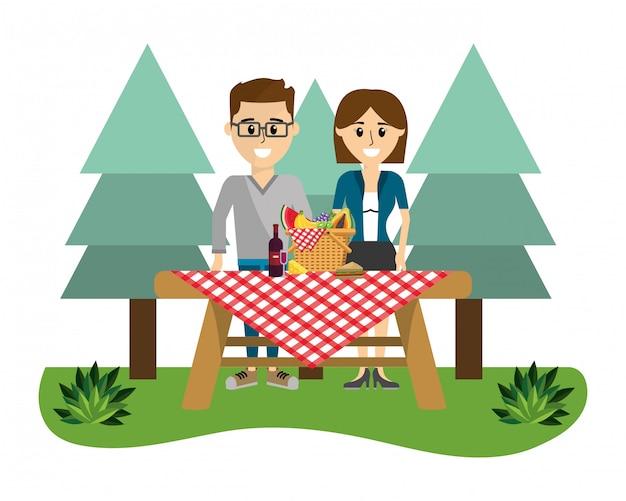 Paar und picknick-cartoons