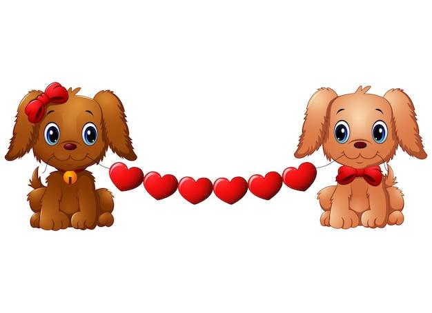 Paar valentinsgrußhunde mit rotem herzen