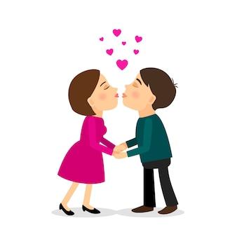 Paar-vektor-illustration zu küssen