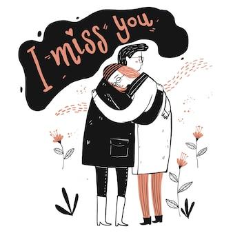 Paar verliebt, ich vermisse dich karte