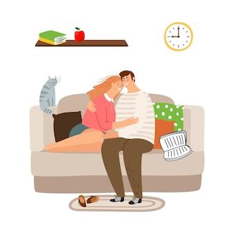 Paar verliebt in sofaillustration. ruhiger abend zusammen konzept