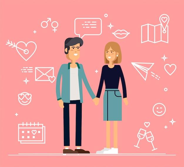 Paar verliebt in valentinselemente auf rosa