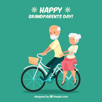 Paar von großeltern reiten ein fahrrad hintergrund