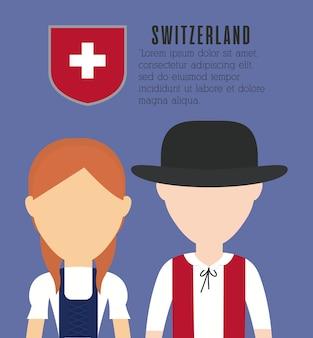 Paar von schweizer menschen symbol