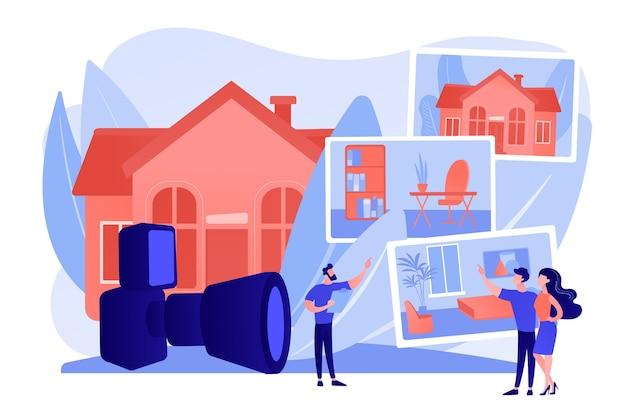 Paar wählt wohnung. immobilienfotografie, immobilienfotografie, fotografie für makler und werbekonzept. isolierte illustration des rosa korallenblauvektors