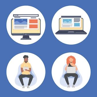 Paar webdesigner arbeiter charaktere