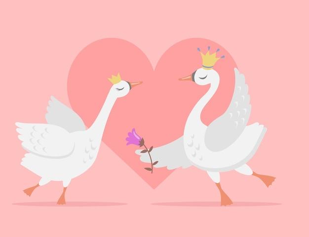 Paar weiße schwäne in liebeskarikaturillustration. hübsche vogelprinzessin und prinz tragen kronen mit herz