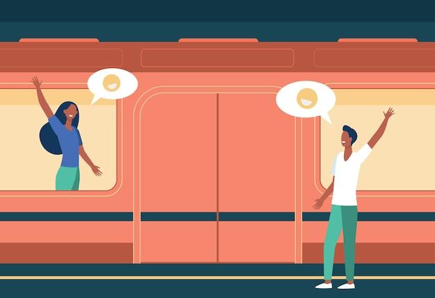 Paar winkt zum abschied in der u-bahn. frau im zug, mann auf plattform flache vektorillustration. kommunikation, dating, transport