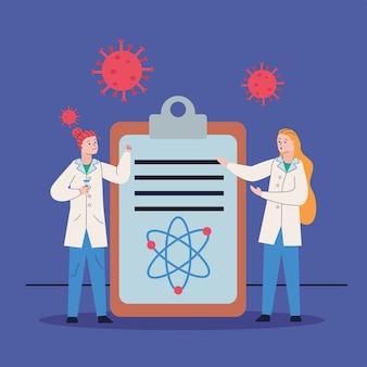 Paar wissenschaftler mit checkliste und covid19-partikel-forschungsimpfstoff