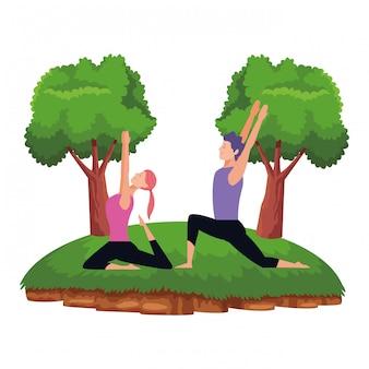 Paar yoga-posen
