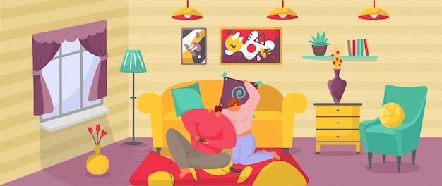 Paar zu hause aktivität, cartoon aktiven mann frau charaktere haben spaß zusammen, spielen videospiele im wohnzimmer