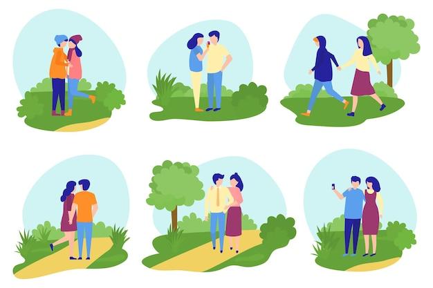 Paar zusammen setzen vektorillustration glücklicher flacher mann frau charakter, der im park liebesbeziehung geht...