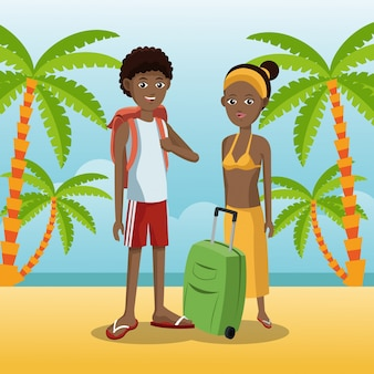 Paare afroamerikaner mit rucksackgepäck-palmensandstrand