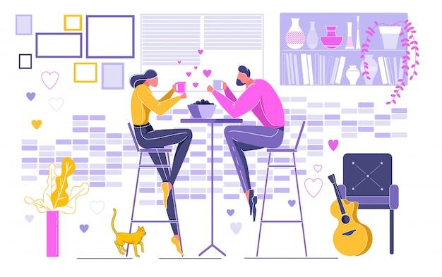 Paare auf dem datum, das getränk hält und zu abend isst.