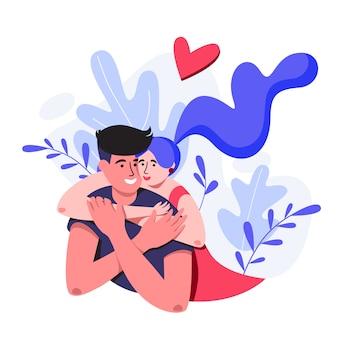 Paare auf dem natürlichen hintergrund mit großen blättern umarmen. valentinstagskarte.