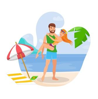 Paare auf flitterwochen-flach lokalisierter illustration