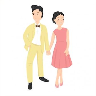 Paare auf romantischer datumsillustration