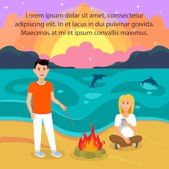 Paare auf strand-vektor-illustration mit copyspace