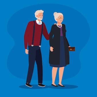 Paare der alten frau und des mannes mit eleganter kleidung