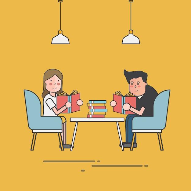 Paare der freunde, die bücher lesen