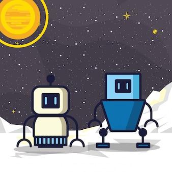 Paare der robotertechnologieillustration