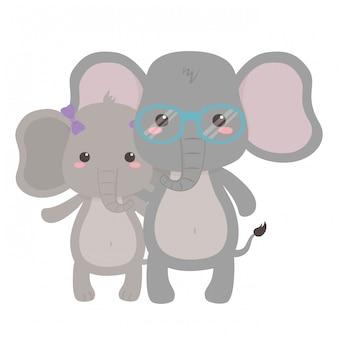 Paare des elefantvektorillustrators