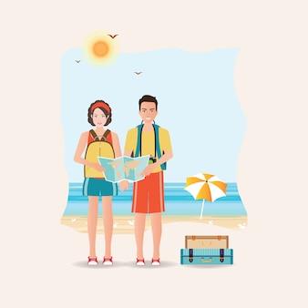 Paare des touristen zusammen auf einer reise weltreise.