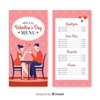 Paare, die Abendessenvalentinsgrußmenü haben