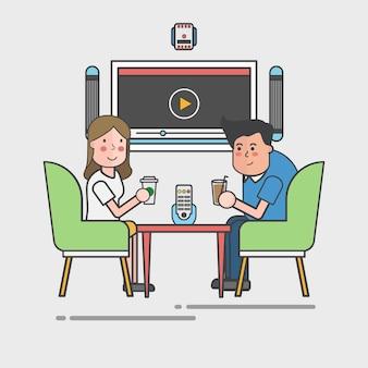 Paare, die an einem cafétischvektor trinken