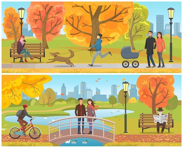 Paare, die auf brücke autumn park set vector stehen