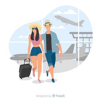 Paare, die auf einen reisehintergrund gehen