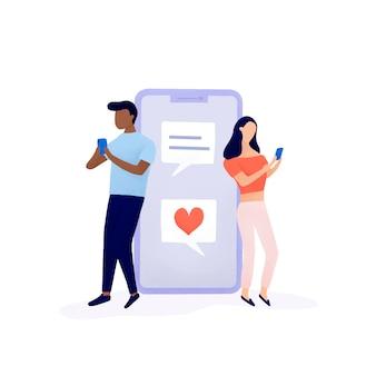 Paare, die auf social media-vektor plaudern