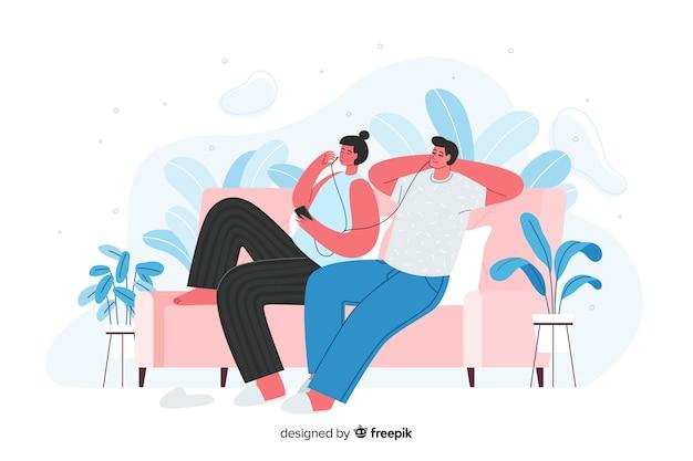 Paare, die auf sofa bleiben und musik hören