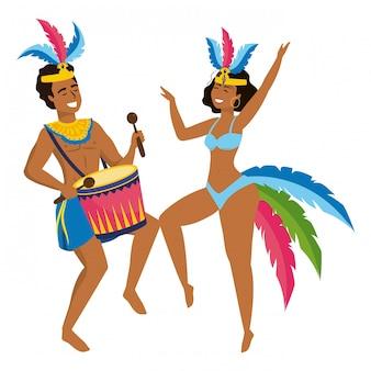 Paare, die brasilien canival-vektorillustration feiern