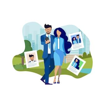 Paare, die draußen flache illustration machen