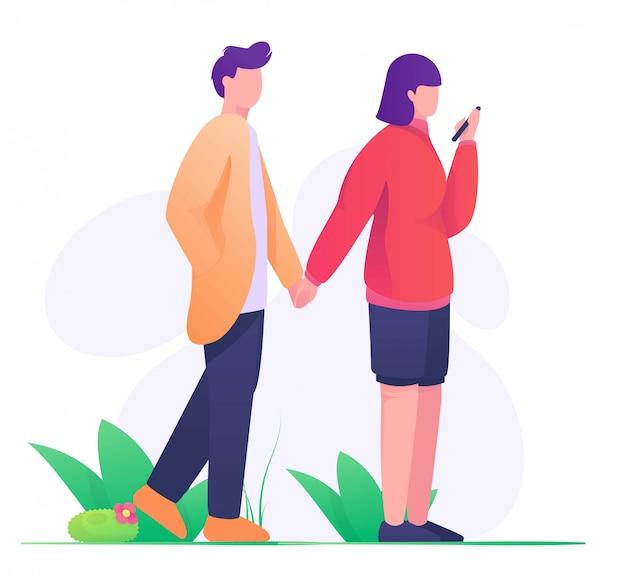 Paare, die hand in der flachen illustration des parks halten