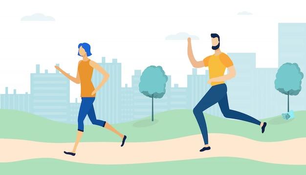 Paare, die herum im park, morgen-rütteln laufen,
