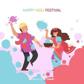 Paare, die holi festivalhintergrund spielen