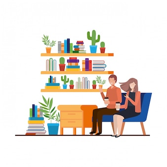 Paare, die im arbeitsbüro-avataracharakter sitzen