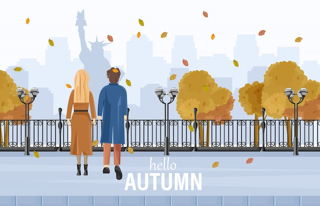 Paare, die in new- yorkherbst gehen