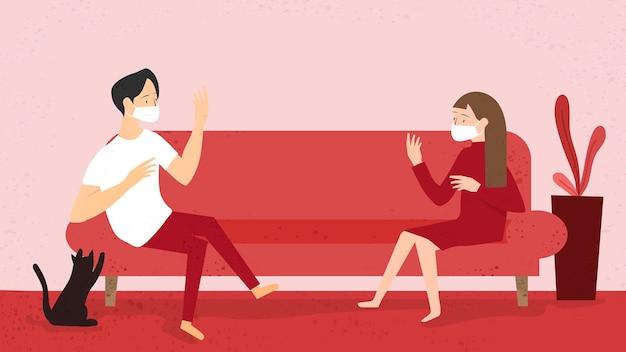 Paare, die masken tragen und in ihrem eigenen zuhause einen physischen abstand halten