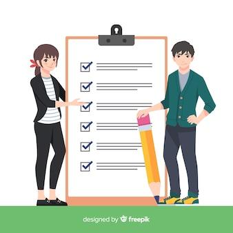 Paare, die riesigen checklistenhintergrund überprüfen