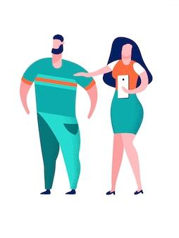 Paare, die selfie-karikatur-vektor-illustration nehmen