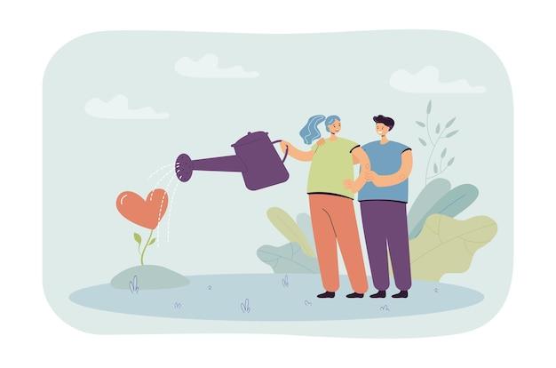 Paare, die sich um liebesillustration kümmern