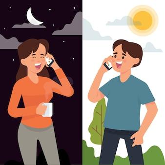 Paare, die telefonanruf in der unterschiedlichen zeit haben